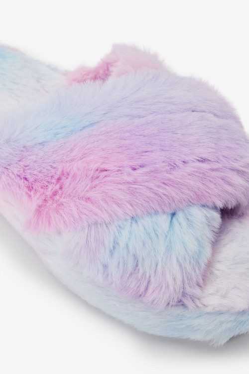 Next Cross Strap Slippers With Recycled Faux Fur (Older)