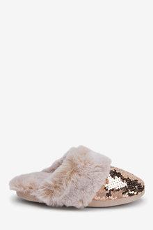 Next Sequin Faux Fur Mule Slippers (Older) - 267660
