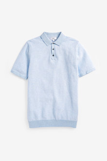 Next Short Sleeve Textured Polo Top - 267688
