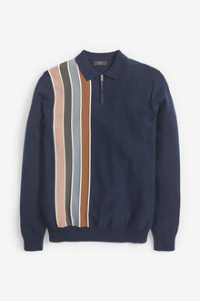 Next Vertical Stripe Knitted Zip Polo - 267700