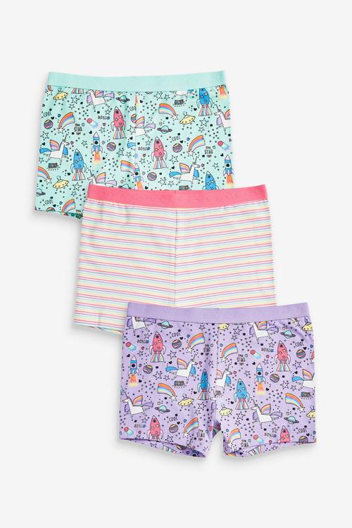 Next 3 Pack Unicorn Shorts (2-16yrs)