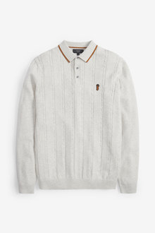 Next Cable Stitch Knitted Polo - 267727