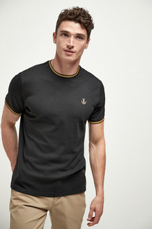 Next Dogtooth Tipped Neck T-Shirt - 267848