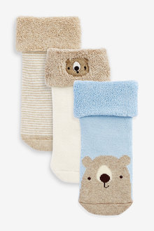 Next 3 Pack Terry Towelling Bear Socks (Younger) - 268018