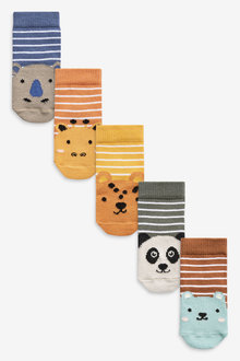 Next 5 Pack Animal Stripe Socks (Younger) - 268021