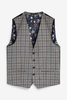 Next Regular Fit Check Suit: Waistcoat - 268064