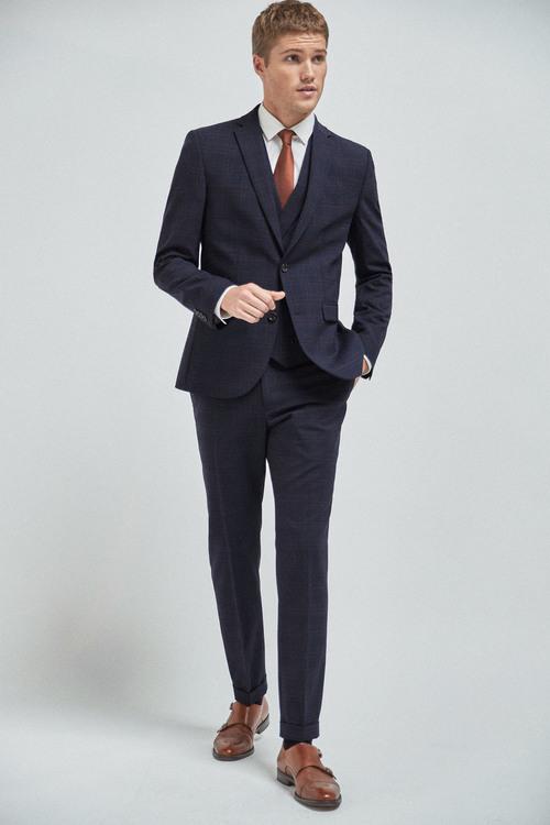 Next Wool Blend Check Suit: Jacket