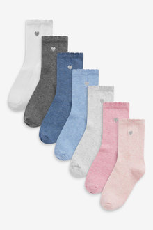 Next 7 Pack Heart Embroidered Socks - 268182