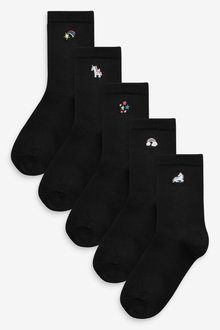 Next 5 Pack Unicorn Embroidered Ankle Socks - 268190