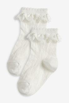 Next 2 Pack Lace Ruffle Socks - 268192