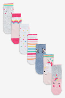 Next 7 Pack Unicorn Socks - 268195