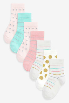 Next 7 Pack Pretty Spot Stripe Socks - 268202