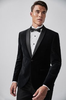 Next Velvet Shawl Collar Tuxedo Jacket-Skinny Fit - 268215