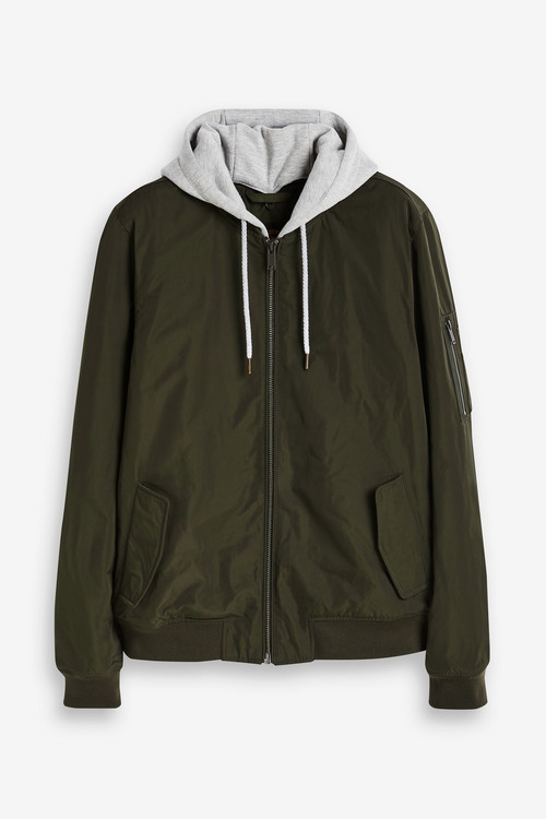Next Shower Resistant MA1 Bomber Jacket With Jersey Hood