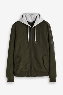 Next Shower Resistant MA1 Bomber Jacket With Jersey Hood - 268313