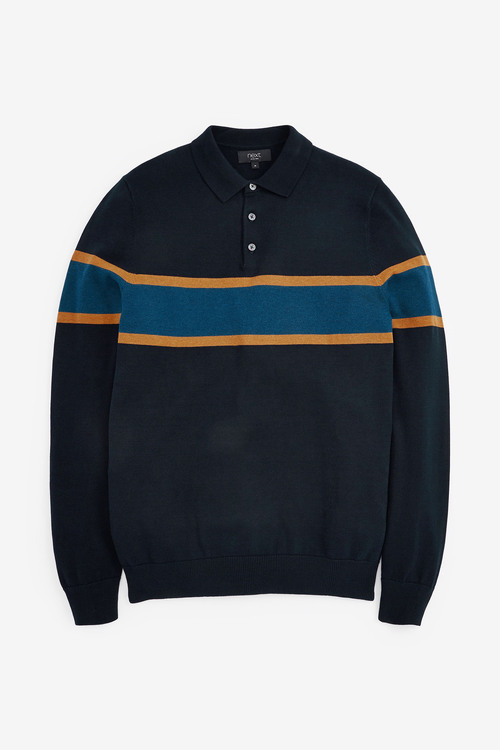 Next Block Striped Knitted Polo