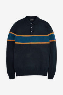 Next Block Striped Knitted Polo - 268345