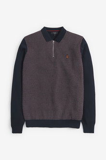 Next Patterned Knitted Zip Polo - 268365