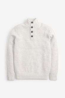 Next Textured Button Neck Jumper - 268385