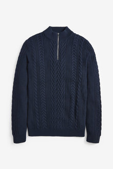 Next Cable Knit Zip Neck Jumper - 268479