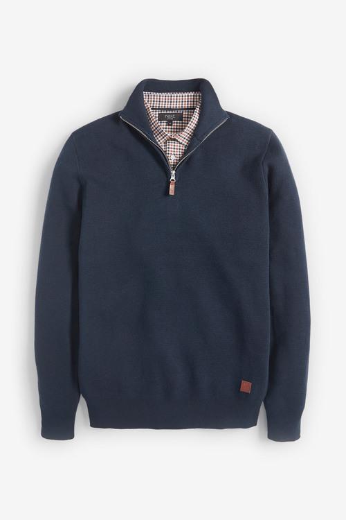 Next Premium Mock Shirt Zip Jumper