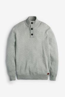Next Premium Button Neck Jumper - 268533