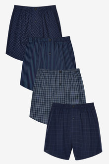 Next Pattern Woven Boxers Pure Cotton Four Pack - 268603
