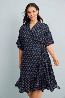 Sara Ruffle Hem Wrap Dress - 268807