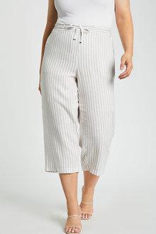 Sara Linen Blend Tie Waist Crop - 268867