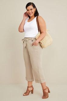Sara Linen Blend Belted Crop - 268868