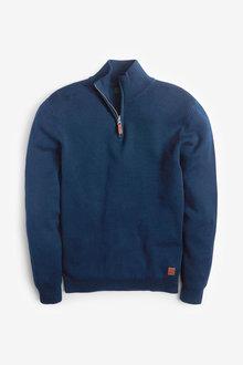 Next Cotton Premium Zip Neck Jumper - 268884