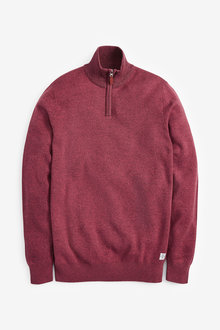 Next Cotton Premium Zip Neck Jumper - 268884