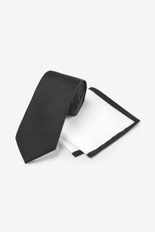 Next Textured Tie With White Pocket Square Set - 268904