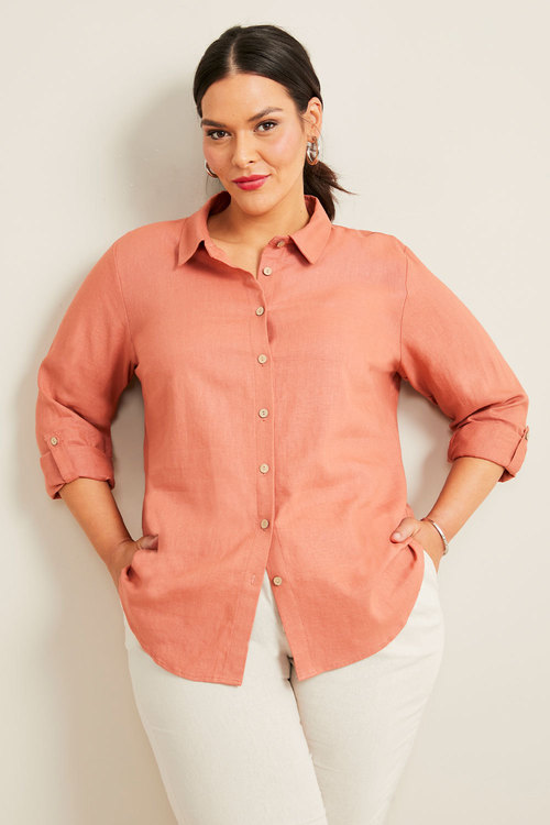 Sara Linen Blend Longline Shirt