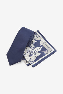 Next Floral Pocket Square and Tie Set - 268910