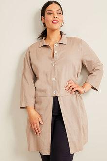 Sara Linen Longline Shirt - 268912