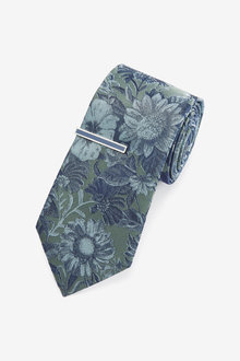 Next Floral Jacquard Tie With Tie Clip - 268917