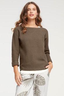 Capture Textured 3/4 Sleeve Sweater - 268944