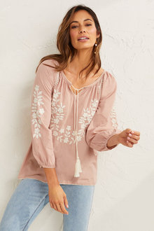 Capture Embroidered Long Sleeve Top - 268952