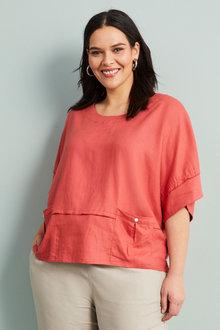Sara Linen Blend Pocket Top - 268976