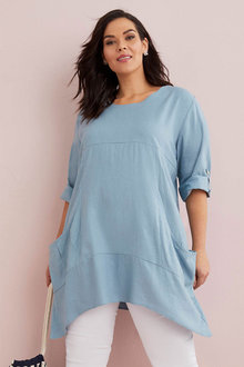 Sara Linen Blend Drape Pocket Tunic - 268980