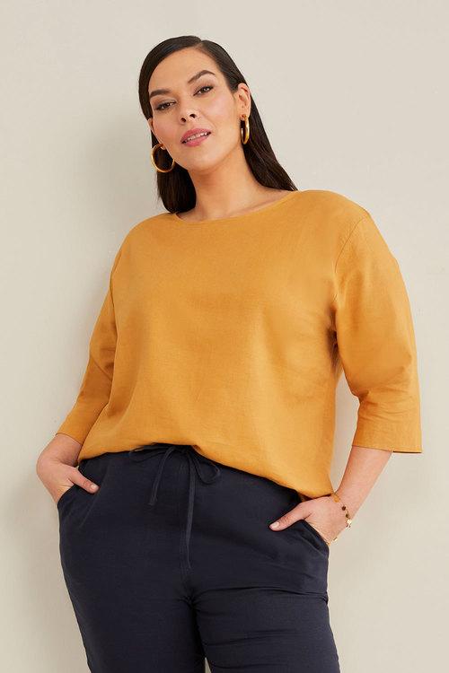 Sara Linen Blend Shell Top
