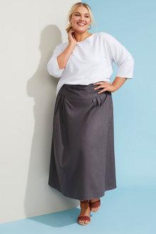 Sara Linen Blend Pull on Skirt - 268993
