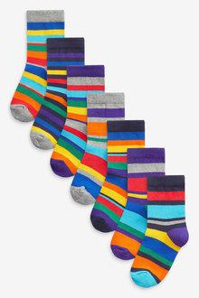 Next 7 Pack Stripe Cotton Rich Socks (Older) - 269011