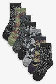 Next 7 Pack Camouflage Cotton Rich Socks (Older) - 269012