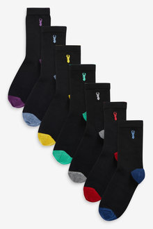 Next 7 Pack Cotton Rich Stag Embroidery Socks (Older) - 269021