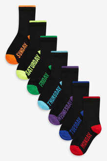 Next 7 Pack Cotton Rich Day Of The Week Socks (Older) - 269024