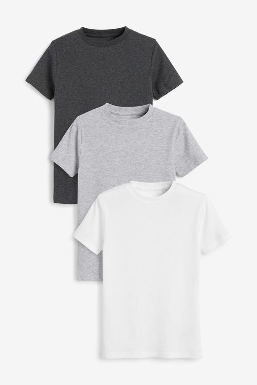 Next 3 Pack GOTS Organic Rib T-Shirts (1.5-16yrs)