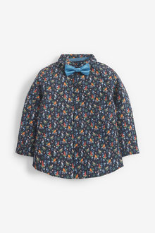 Next Long Sleeve Floral Print Shirt With Bow Tie (3mths-7yrs) - 269186