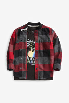 Next Long Sleeve Red Check Baseball Shirt And T-Shirt Set (3mths-7yrs) - 269188